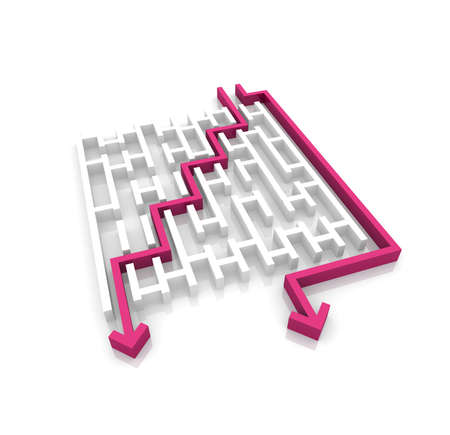 problem solved: various ways of passing the maze Stock Photo