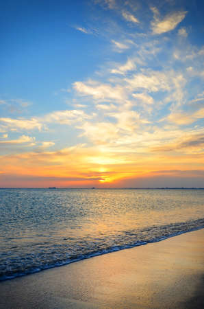 expanse: Expanse of the sea against the sunset sky. Beautiful seascape. Natural composition.