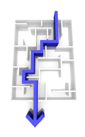 difficult journey: the way an arrow is laid on the labyrinth. computer Simulation