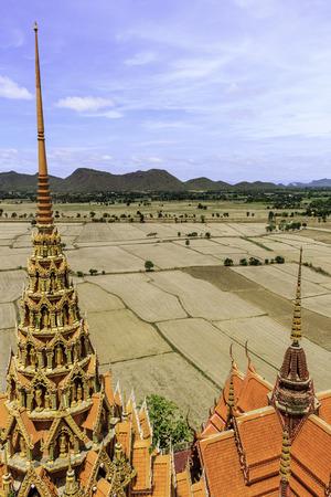 supplicate: landscape temple kanchanaburi, thailand