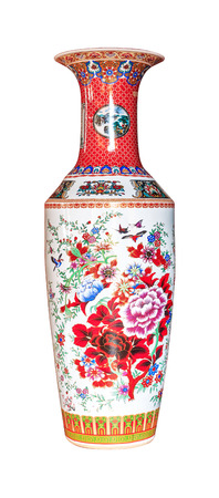 antique vase: chinese antique vase isolated on the white background Stock Photo