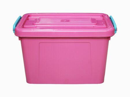 storage bin: pink plastic box isolated on white