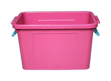 storage bin: pink plastic box isolated on white with clippingpath Stock Photo
