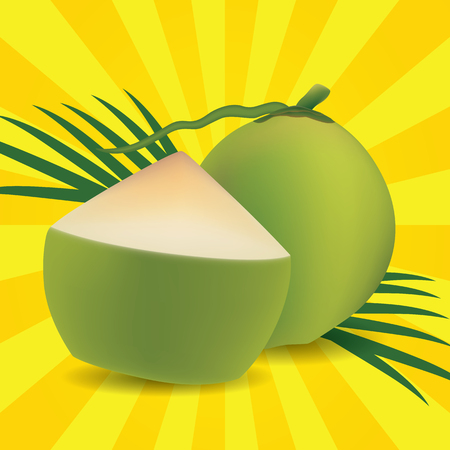 supple: Young green coconut on sun backgrounds
