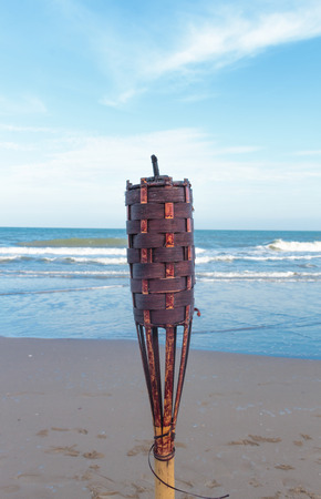 flaming torch: flaming torch on the beach