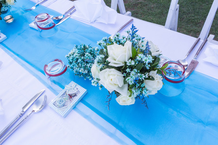 catered: table set for wedding or another catered event Stock Photo