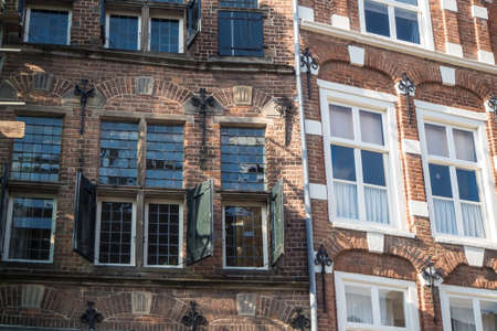 Historic 17th century house fronts with window shutters at Groenmarkt in Zutphen, Holland Stock fotó