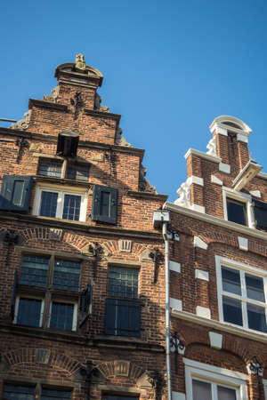 Historic 17th century house fronts with stepped gables and window shutters at Groenmarkt in Zutphen, Holland Stock Photo
