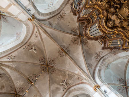 The Schnitger organ in the Great or St. Michael's Church seen from below, against the ornamented church ceiling. It is one of the biggest organs in the Netherlands. 에디토리얼