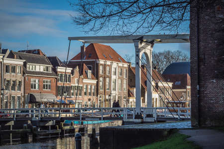 Historic housefronts along the Thorbeckegracht in Zwolle on a sunny winter morning.