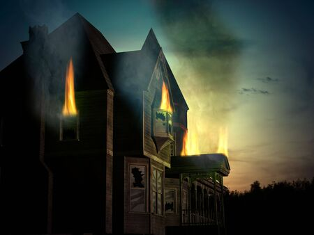 Combined 3D render and photography of an old, abandoned wooden house with fire and smoke and sunset background