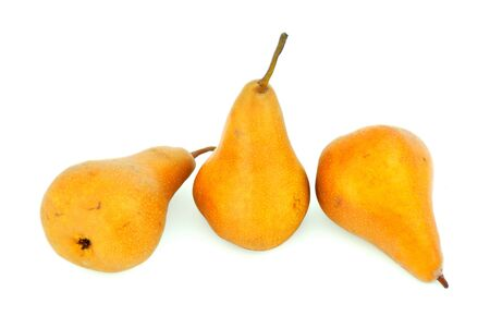Some pears with freckles isolated on white background. Stock Photo