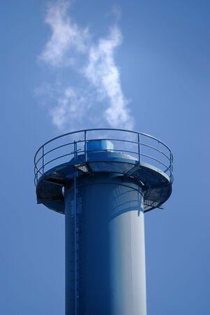 Purified smoke of a small power plant. Stock Photo