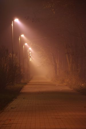 A foggy street with colored street light Stock Photo