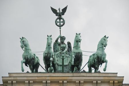 The Quadriga (from Johann Gottfried Schadow) on the top of the Brandenburger Tor in Berlin, Germany