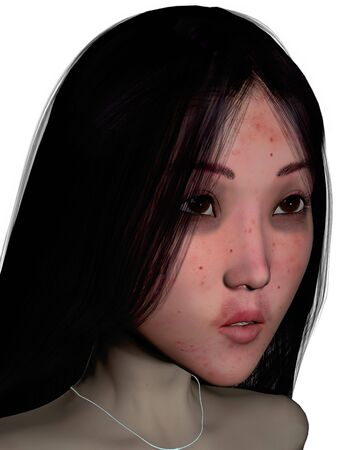 A 3D computer generated image of a girl with freckles isolated over white.