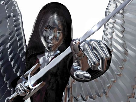 3D render of an angel with wings and sword in chrome, isolated over white and space for more hair.
