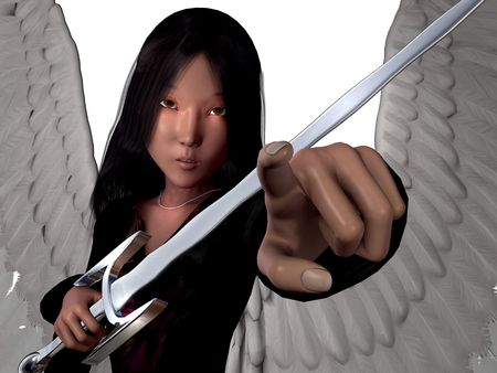3D render of an angel with wings and sword, isolated over white and space for more hair.