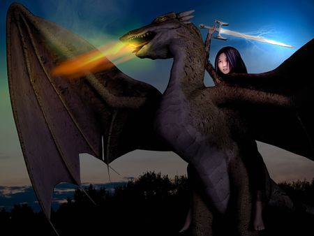 Combined 3D render and photography of a girl, riding on a dragon with sword and lightnings, and sunset background