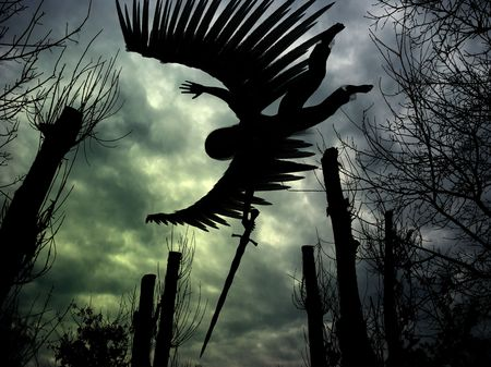 Combined 3D render and photography of an angel with wings and sword, forest and dark clouds. Stock Photo - 3111199