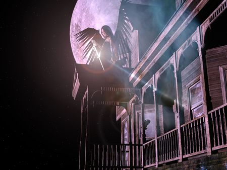 3D render of an old, abandoned wooden house with smoke, stars, fullmoon background and an angel with black wings and sword.