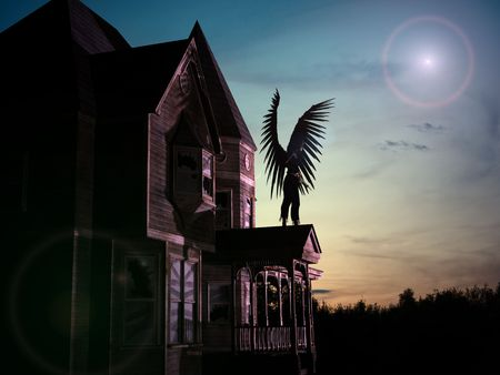 3D render of an old, abandoned wooden house with star, sunset background and an angel with black wings and sword.
