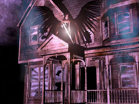 3D render of an old, abandoned wooden house with smoke, stars, full-moon background and an angel with black wings and sword.