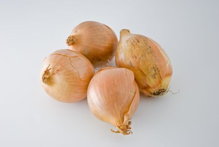Four onions isolated on white background with lights from the left and soft shadows.
