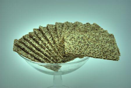Hdri of several slices of crispbread in a dish