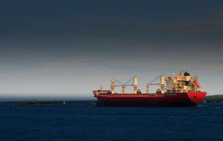 Freighter Ship on the St. Lawrence River Stock Photo