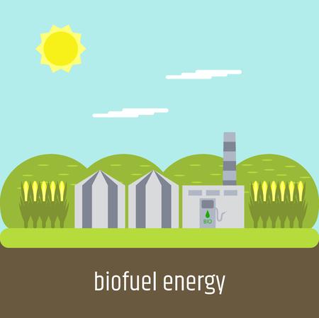 Biofuel plant. Flat design. Vector illustration. Illustration