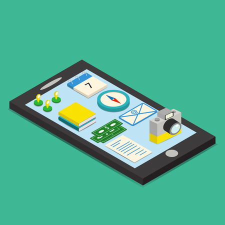 Isometric set of mobile functions icons stand on the phone