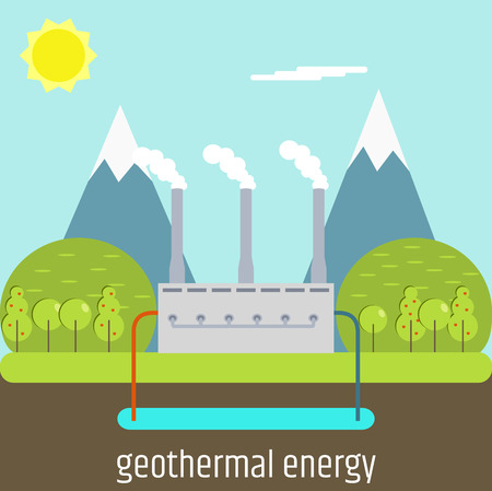 Een geothermische energie. Platte ontwerp illustratie. Stock Illustratie