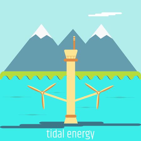 Tidal energy. Flat design 向量圖像