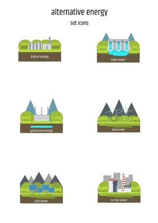 Set of illustrations in simple flat style - alternative and renewable energy - wind-powered electrical generators, hydroelectric station, geothermal power station ans solar panels