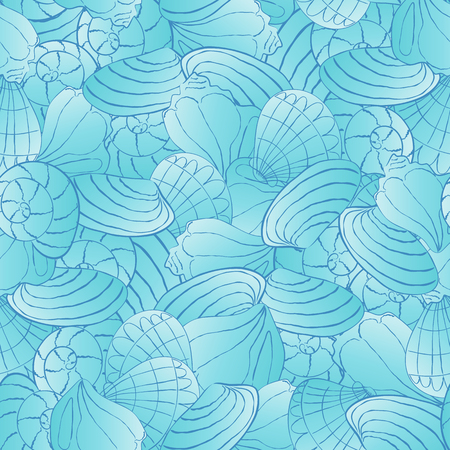 seamless vector pattern with seashells