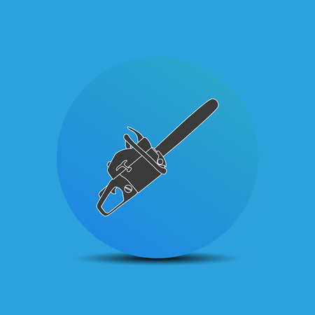 Chainsaw icon in flat style on blue background. Stock Photo