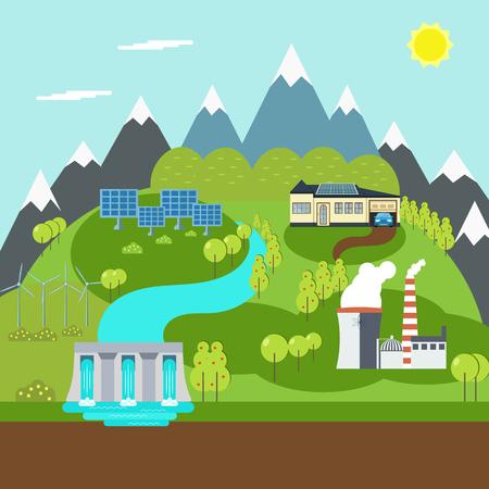 Energía renovable como instalaciones de generación de energía hidroeléctrica, solar y eólica Foto de archivo - 91135534