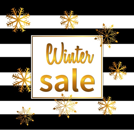 banner winter sale. Lettering design with shining gold glittering snowflakes Фото со стока