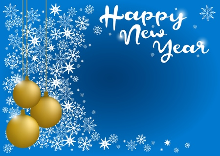 Happy new year inscription on a gold christmas ball. Greeting card design template with 3D typography label