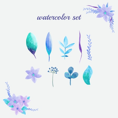 Set of watercolor flowers and leaves.