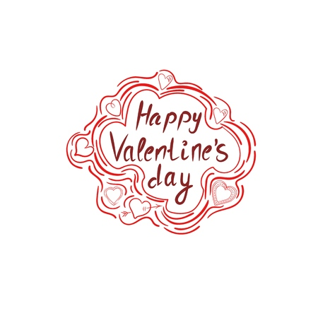 Happy Valentines day calligraphy hand written greeting card.