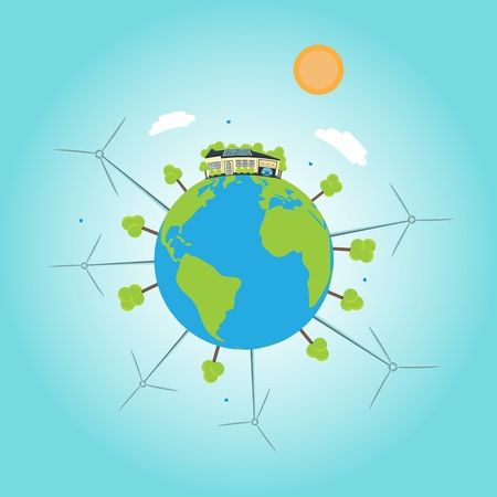 A house with solar botaris on the globe with windmills. concept of clean energy Иллюстрация