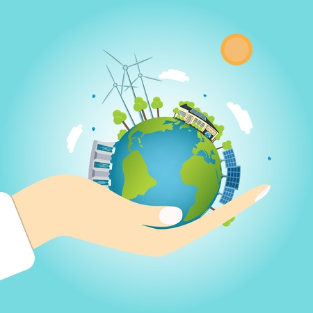 house with solar botaris on the globe with windmills and hydro. concept of clean energy. Vector illustration of ecology the concept of infographics modern design on the hand.