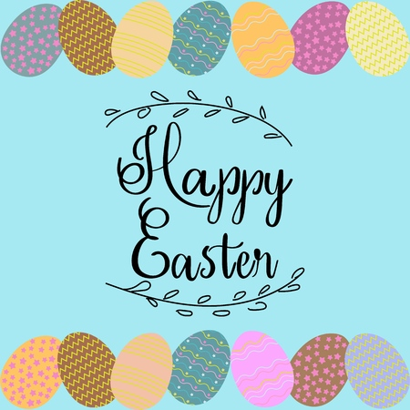 Inscription Happy Easter with painted eggs Иллюстрация