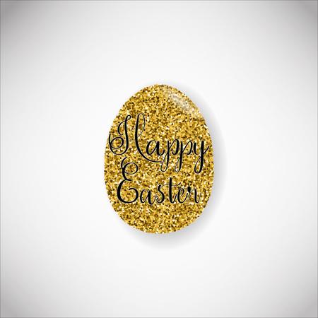 Happy Easter lettering on egg illustration on light background.