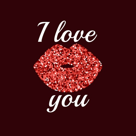 Love kiss with red glitter