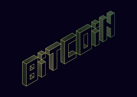 vector text illustration bitcoin. Иллюстрация