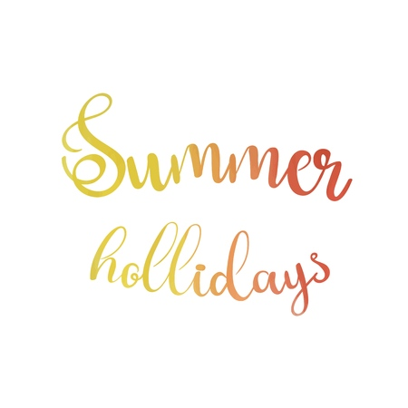 Watercolor background and lettering summer hollidays. Brush lettering composition. Vector Illustration.