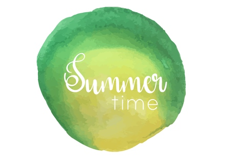 Watercolor background and lettering summer time. Brush lettering composition. Vector Illustration.